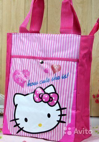 Сумка Hello Kitty  Размер: 32 см х 25 см х 8 см. Материал - ткань, с подкладкой.