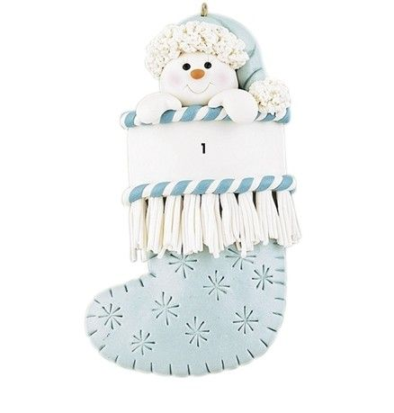 Baby Boy's 1st Christmas BLUE Stocking Ornament Snowflakes