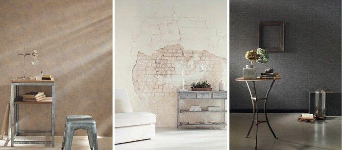 ETNA behang collectie van #Caselio. Imitaties van ruw beton, prachtig oud doe, stoffen leder, baksteen en antiek hout op te muur! Verkrijgbaar bij Verf en Wand winkels - ook online.