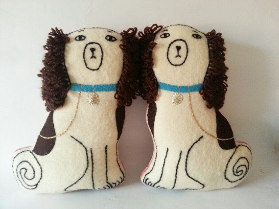 Brian May Staffordshire dogs cushions by madebyswimmer on Etsy