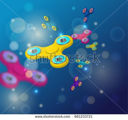 Fidget spinner dark blue background with colorful 3d icons of modern rotating toys vector illustration