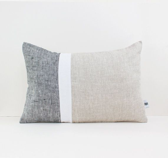 Geometric Cushion in Dark Gray White and Beige  by LinenandStripes