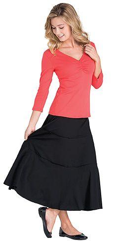 Great basic black skirt from www.pajamajeans.com