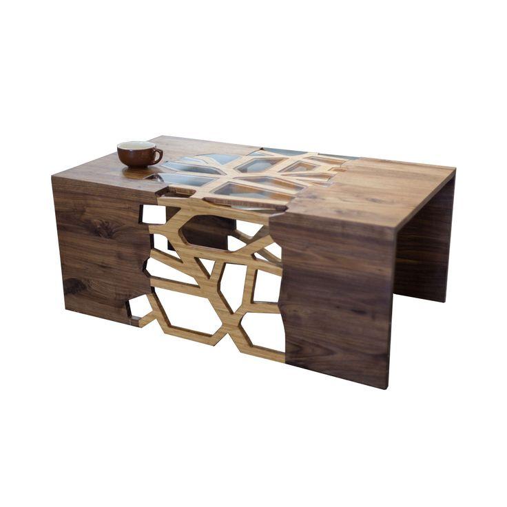 The negative space on this table is mesmerizing. Handmade Organic Wood Mosaic Coffee Table | dotandbo.com.