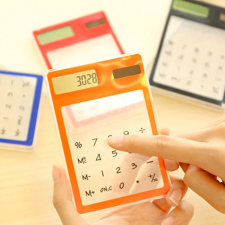 Cute Transparent Calculator Mathematics Calculator Mini Solar Calculator 1PCS