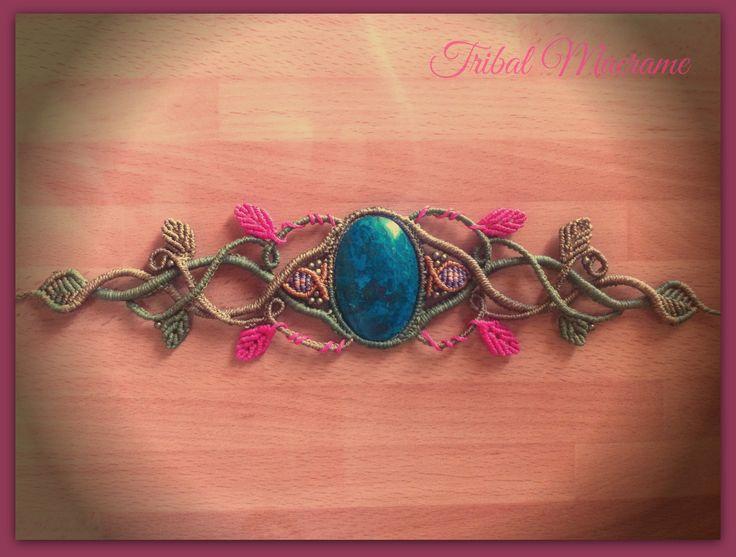 macrame bracelet with chrysocolla elven, celtic, elfic, faery, fairy, boho, leaves, fantasy. https://www.etsy.com/es/shop/TribalMacrame https://www.facebook.com/tribalmacrame