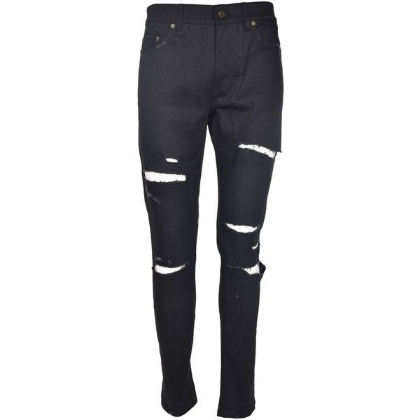 Saint Laurent Ripped Jeans ($415) ❤ liked on Polyvore featuring men's fashion, men's clothing, men's jeans, nero, mens button fly jeans, mens ripped jeans, mens torn jeans, mens destroyed jeans and mens distressed jeans