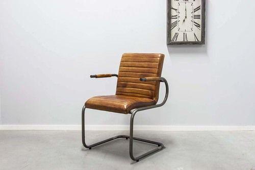Eetkamerstoel horizontaal met rond frame - Vintage leder - Art. 55RP prijs: 259,-