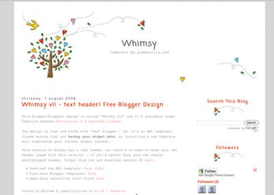 Blogger Candy Free Blo Templates Whimsy Redone Blog