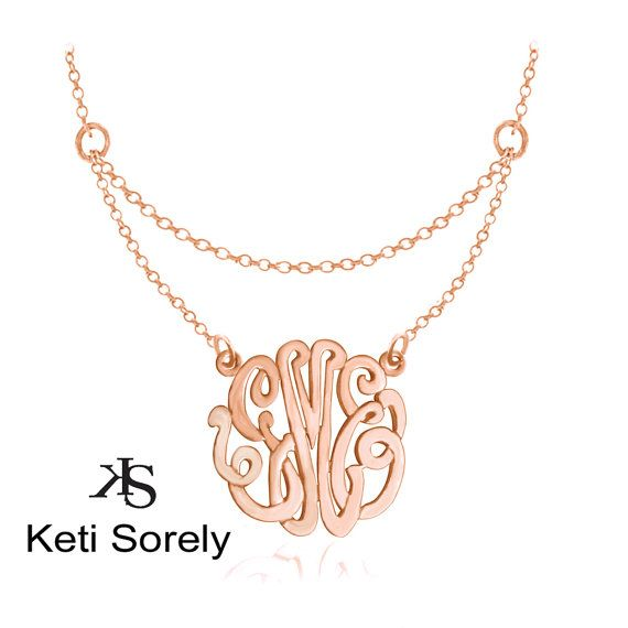 Layered Monogrammed Initials Necklace - Small to Large Initials (Order Any Initials) - Sterling Silver, Rose or Yellow Gold
