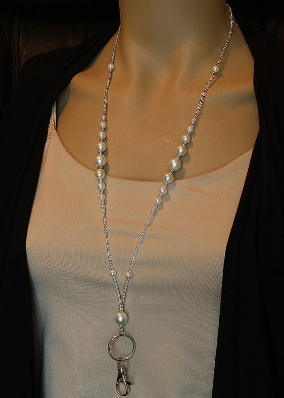 Pearl Bead Lanyard, ID badge holder, elegant pearl lanyard, teacher gift, nurse lanyard, flight attendant, breakaway lanyard necklace