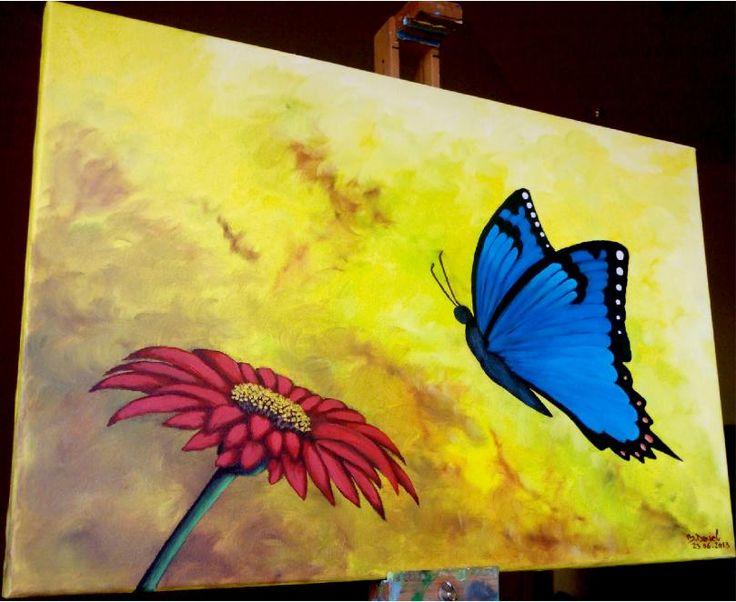 ''Flower and Butterfly'' Pictura in ulei pe Panza; Dimensiuni : 40/60cm; Culori in Ulei : Daco & CFP. Expozitie Summer Art Salon 2013 Bucureti , 250 ron .