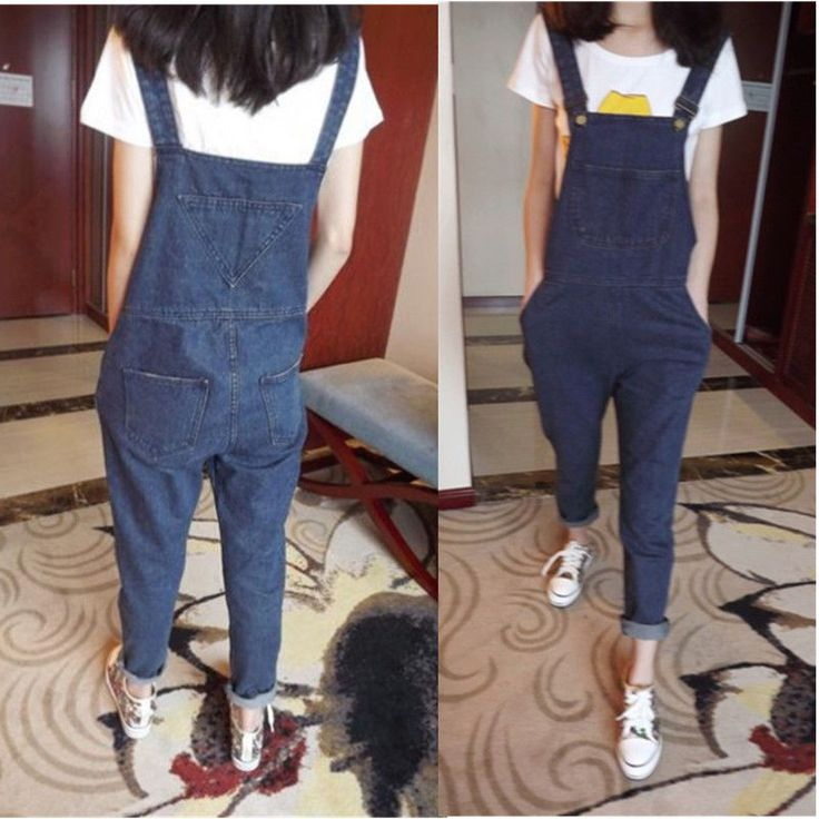 Women Casual One-Piece Jumpsuits Overalls Denim Jeans Romper Trousers Long Pants