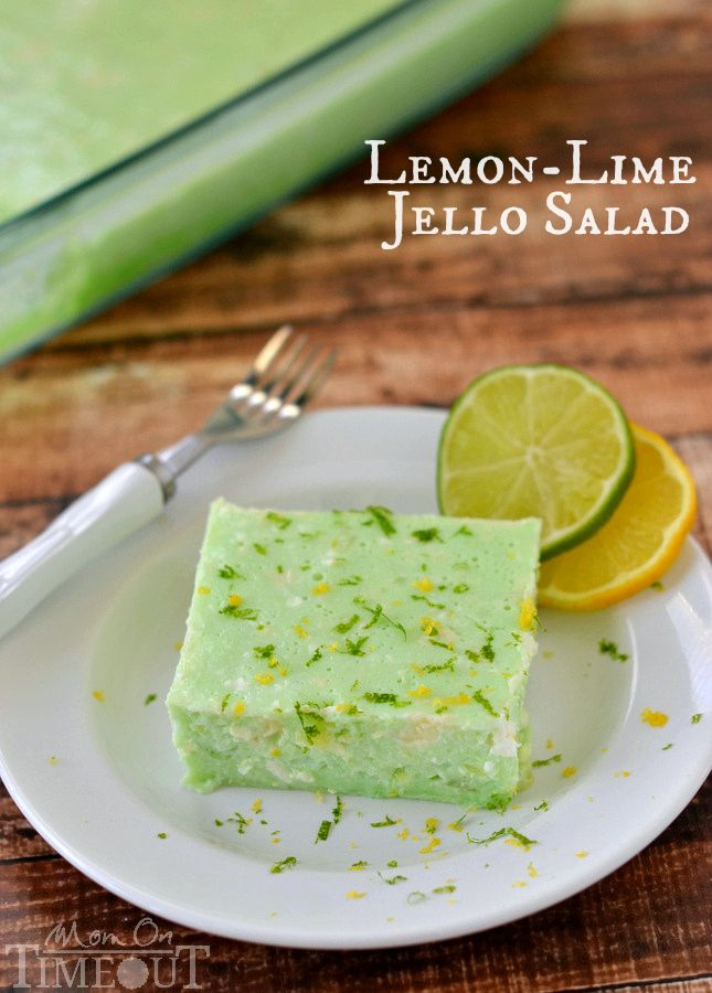 This delicious Lemon Lime Jello Salad is made with cottage cheese and pineapple - sooo good! | MomOnTimeout.com: Lemon Limes, Dads Green, Jello Fruit Salad Recipes, Lime Jello Salads, Lemon Jello Recipes, Green Jello Cottages Cheese, Limes Jello Salad Recipes, Delicious Lemon, Cottages Cheese Jello Salad