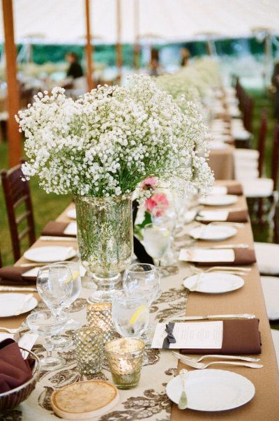 Style Me Pretty | GALLERY & INSPIRATION | GALLERY: 10931 | PHOTO: 847251  Round Tables; White or Navy table cloth + navy or rose napkins. White plates. Lower mercury glass jars/vases; rounded mercury glass votives; no runner
