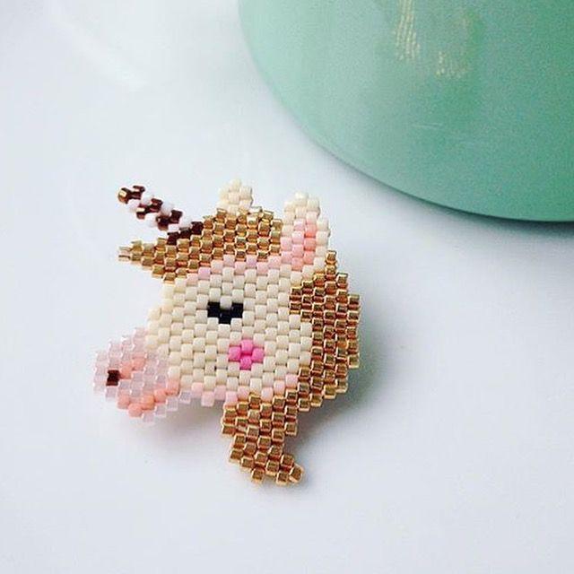 Diagramme de la « licorne » en Miyuki, tissage en brick stitch