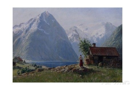 Girl in a Fjord Landscape Giclee Print by Hans Andreas Dahl at AllPosters.com