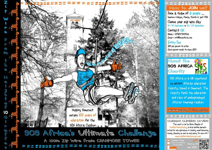 The #EventPoster for SOS Africa's Cranmore Tower in September 2013 #ZipWire #CharityFundraising #SummerEvent... #Inspiring #Posters