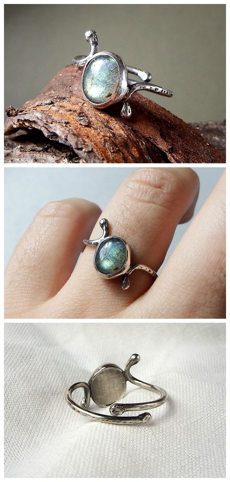 Curl Ring in Labradorite. Sterling silver, adjustable size, made by Alice Savage. Bohemian, chic, artisan jewelry, minimal