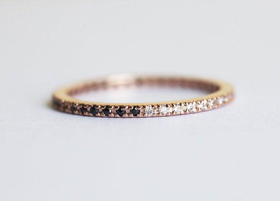 Rose Gold Eternity Band Rose Gold Pave Diamond Ring by MinimalVS
