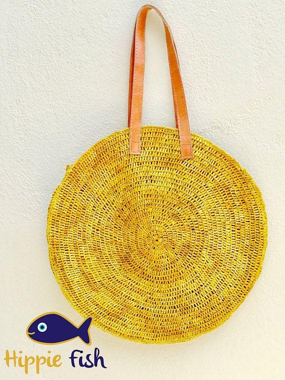 Round Straw bag straw bag French market bag raffia bag