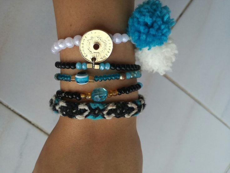 Black Bluetooth bracelets, macrame,  summer bracelets,  goutsouniarika kosmimata