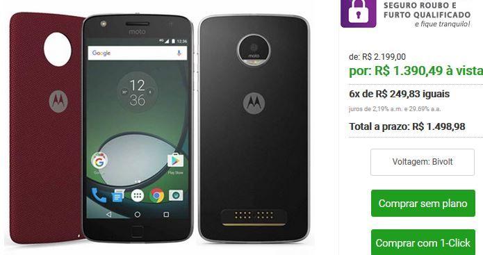 """Moto Z Play Preto Motorola com Tela de 55"""" 4G 32 GB e Câmera de 16 MP XT1635 << R$ 139049 >>"""