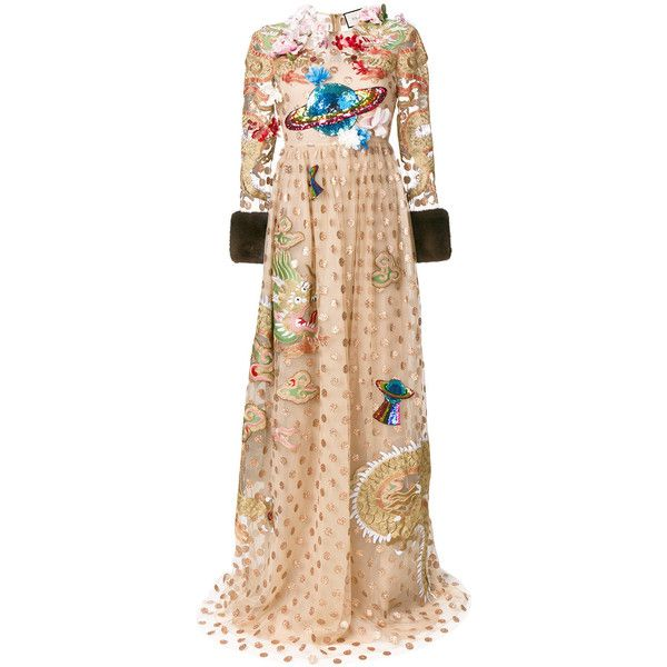 Gucci embroidered polka dot tulle gown (£15,440) ❤ liked on Polyvore featuring dresses, gowns, tulle ball gown, long sleeve floor length dress, long sleeve sequin dress, tulle gown and long sleeve gowns