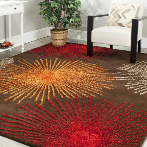 Safavieh soho brown multi wool area rug 9 39 x 12 for Living room rugs 9x12
