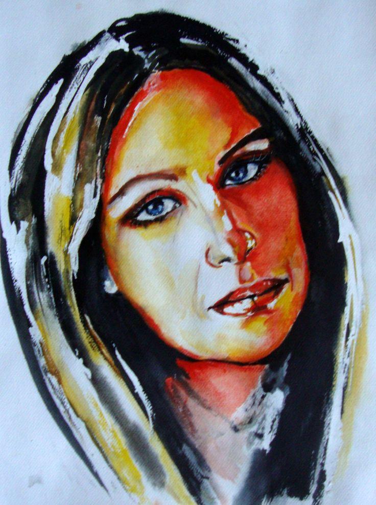 Watercolor ..Barbra Streisand