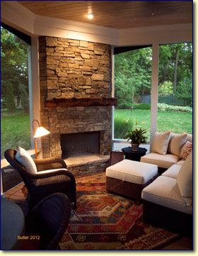 1000 ideas about corner fireplace mantels on pinterest for Sunrooms with fireplaces