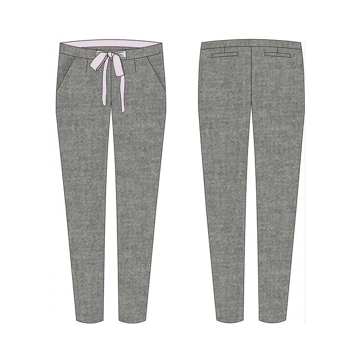 """Modèle femme Pantalon à la coupe """"relaxed-fit carrot"""" et taille semi-haute. Pour le fermer, boutonnez les pressions cachées par la sous-patte et nouez le joli noeud en soie. Les poches italiennes et les poches dos à un passepoil lui donne un air """"comme au magasin"""". Présentation en détails sur le blog blousetterose.wordpress.com Tailles : 34-36-38-40-42-44-46-48 * Stature: 1,68m * Tour de taille de 64cm à 92cm * Tour de bassin de 88cm à 116cm Difficulté: niveau confirmé Conseil tissu: so..."""