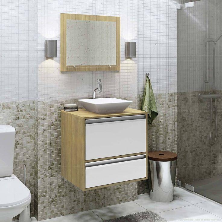 Banheiro decorado em cores neutras com pastilha. Clique na imagem para saber mais.