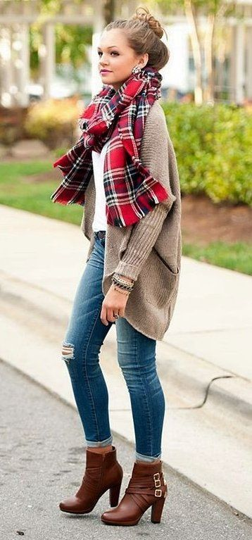 Red Plaid Scarf + Camel Cardigan + Leather Booties                                                                             Source