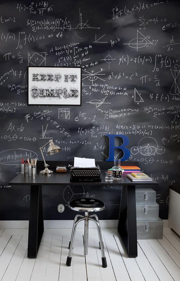 Love the chalkboard wall.