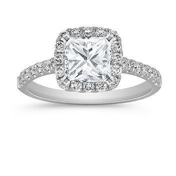 classic halo diamond engagement ring with princess cut diamond - Wedding Rings Princess Cut