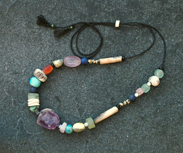 Purple Rain Amethyst & Raku necklace  w/ handmade Raku / porcelain/ pit fired beads/ eclectic gems / unique/ one of a kind/ Gifts for her by CopperLarkStudio on Etsy