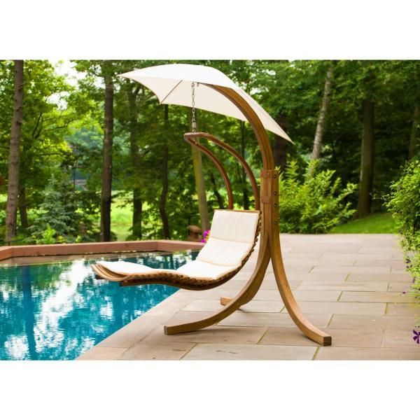 Belleze Hanging Chaise Floating Swing Chaise Lounge Chair Hammock Lounger Navy Patio Lawn Garden Patio Furniture Accessories