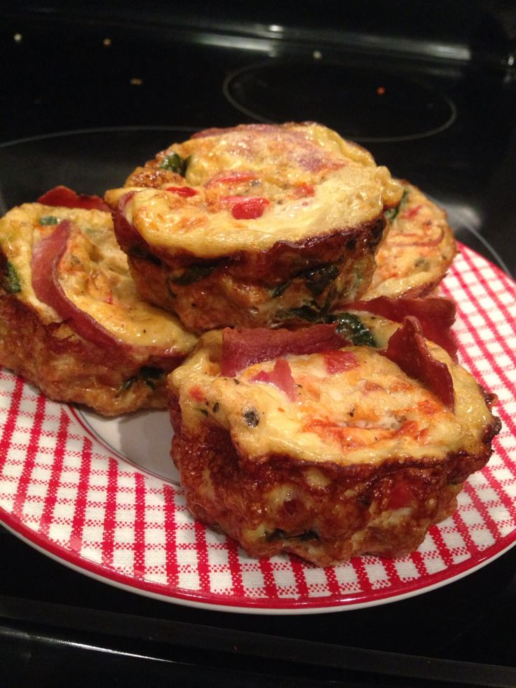 Turkey Bacon Omelette Muffins 2 eggs 5 egg whites 1/2 cup milk 6 strips cooked turkey bacon 1 clove garlic minced 1 tablespoon minced shallot 1/4 cup onion 1/4 cup tomatoes-pat dry 1/4 cup green or red bell peppers diced 1 pinch corn starch 2 tsp coconut oil 1 pinch salt/pepper  Add coconut oil garlic shallot onion and peppers to a pan and sauté until slightly soft Remove from heat Beat eggs, egg whites, corn starch and milk. Add veggies and pour into greased cupcake tins Bake at 350 for 15…