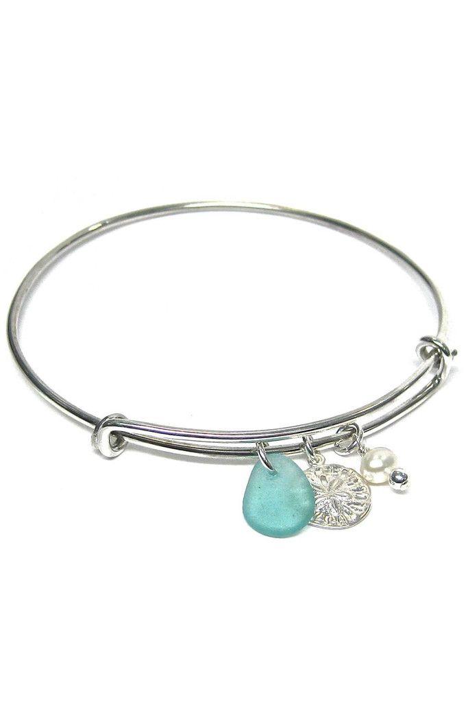 Womens>Accessories>Jewelry - Sea Glass Charm Bangle Bracelet