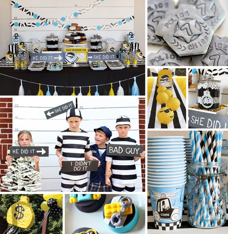 Love seeing Jenny Dixon's take on our Cops & Robbers party featured on Hostess With the Mostess! Good guys, bad guys & prison stripes galore... this Lego Cops and Robbers Birthday Party by Craft That Party (with cute supplies & costumes from Birthday Express) is criminally cute! #Lego http://hwtm.me/11H8L6a