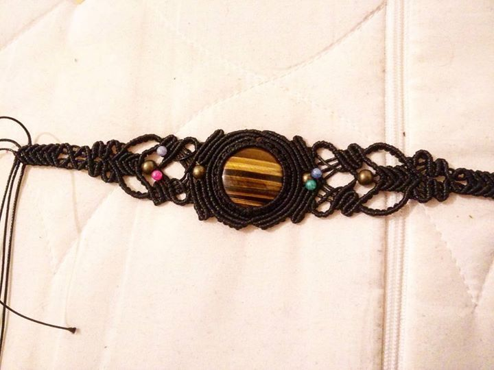 Work in progress for Macrame collar with Tigers Eye gemstone. More detailed pictures coming up soon as a new listing in our etsy shop @lsdworkshop