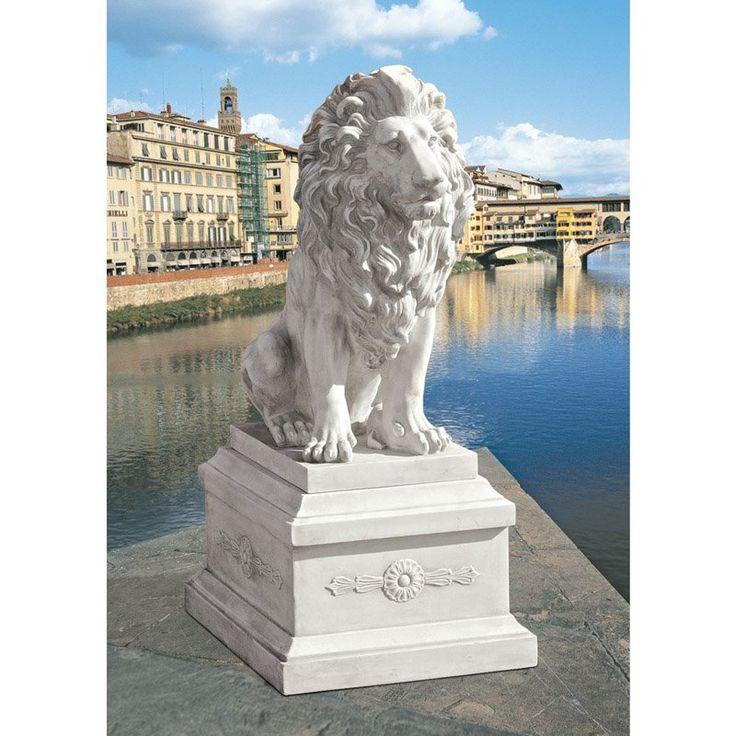 Design Toscano Lion Of Florence Sentinel Garden Statue U0026 Base