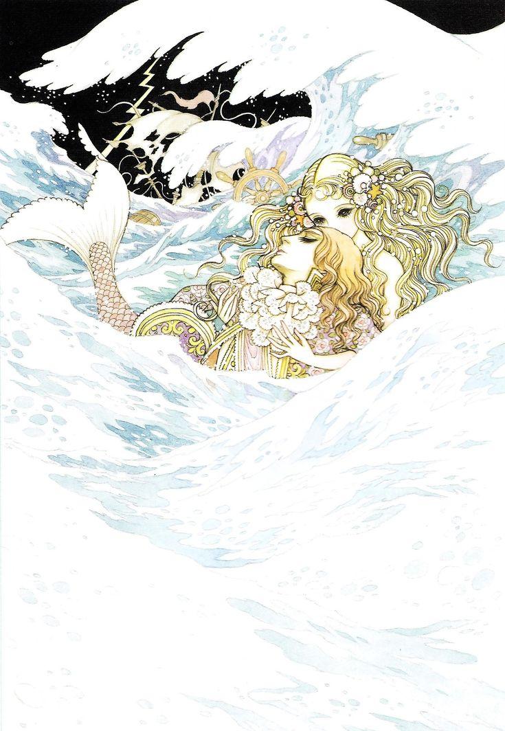 人魚姫 The Little Mermaid, 1979 by 高橋真琴 Makoto Takahashi (Macoto, Japan): one of the leading shoujo artists of the 1950s. He set the standard for the creative layouts and symbolism signature to shoujo manga. >>http://www.macotogarou.net/