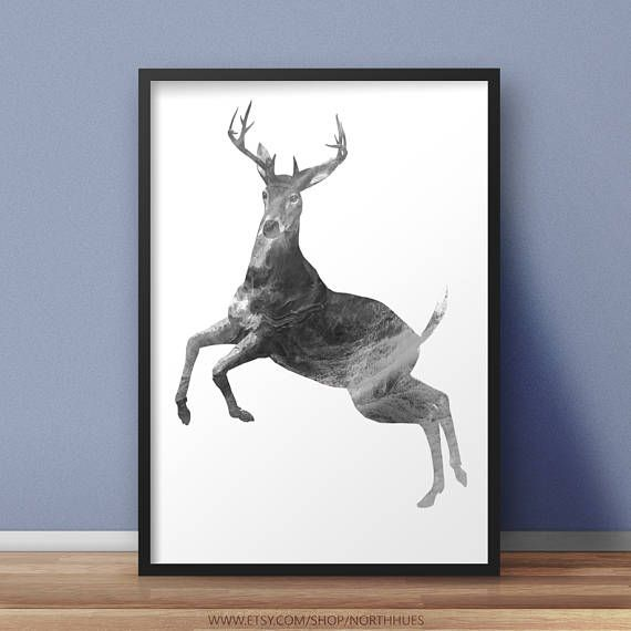 Grey Marble Deer Poster 🤘  https://www.etsy.com/no-en/listing/531120547/deer-poster-grey-marble-look