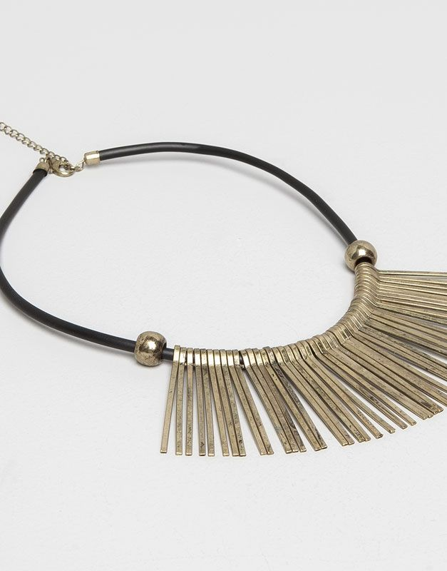 Pull&Bear - woman - jewellery - w3 cord necklace with metallic fringes - gold - 05994396-V2015