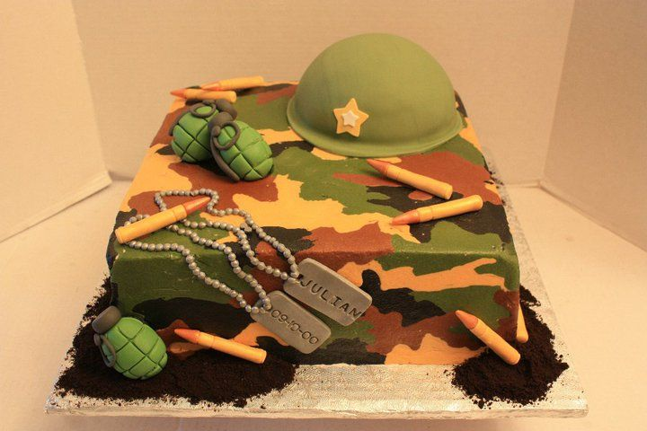 Camouflage cake - This cake was a one tier chocolate fudge cake with chocolate fudge filling. The cake was covered in buttercream using a special technique to give it the camo look. The hat is cake and the rest of the decorations were made out of gumpaste. TFL  A special thank you to Shelly Hargens for being so gracious and sending me the tutorial which helped me figure out how to create the camouflage look on buttercream. Thank you so much Shelly..its people like you that make this site so…