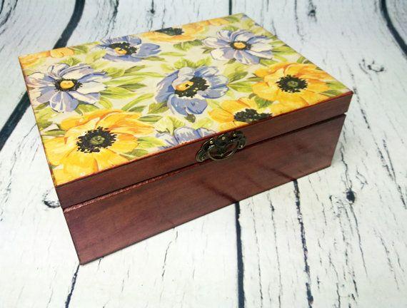 Flower box Trinket decoupage beautiful flowers keepsake box