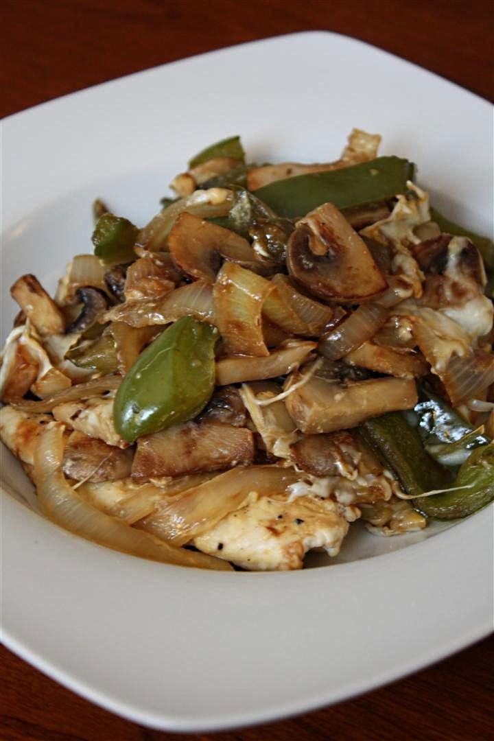 Lightly Smothered Chicken with Onions, Bell Peppers, Mushrooms and Mozzarella Cheese. Tastes like Alice Springs Chicken from Outback which is 35 WW points. This meal, with 6 oz. chicken, 1/4 cup mozzarella cheese and as many veggies as you like is just 8 WW points.