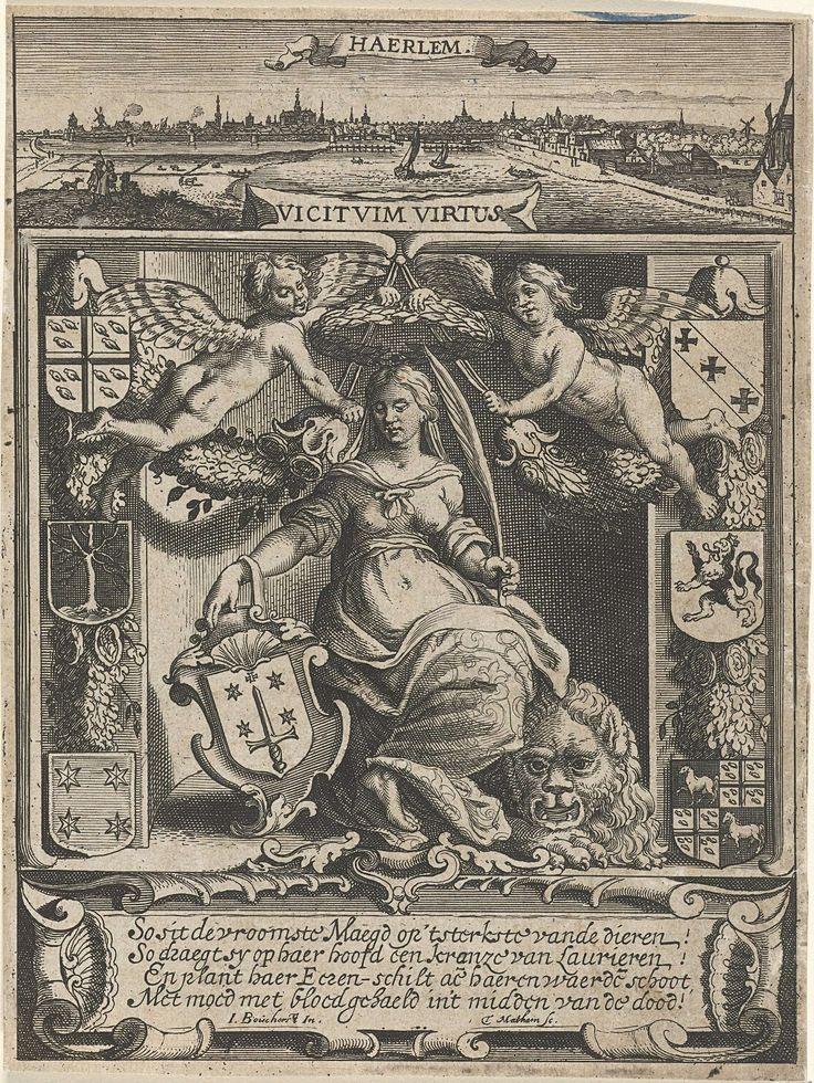 Theodor Matham | Stedenmaagd van Haarlem, Theodor Matham, 1615 - 1676 | Stedenmaagd zittend op de Hollandse Leeuw met in haar hand het wapen van Haarlem. Boven haar hoofd twee engelen met guirlandes en een lauwerkrans. Aan weerszijden twee keer drie wapenschilden. Bovenaan een panorama op de stad Haarlem.
